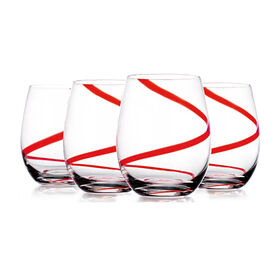 Picture of Red Swirl Stemless Wine Glasses, Set of 4