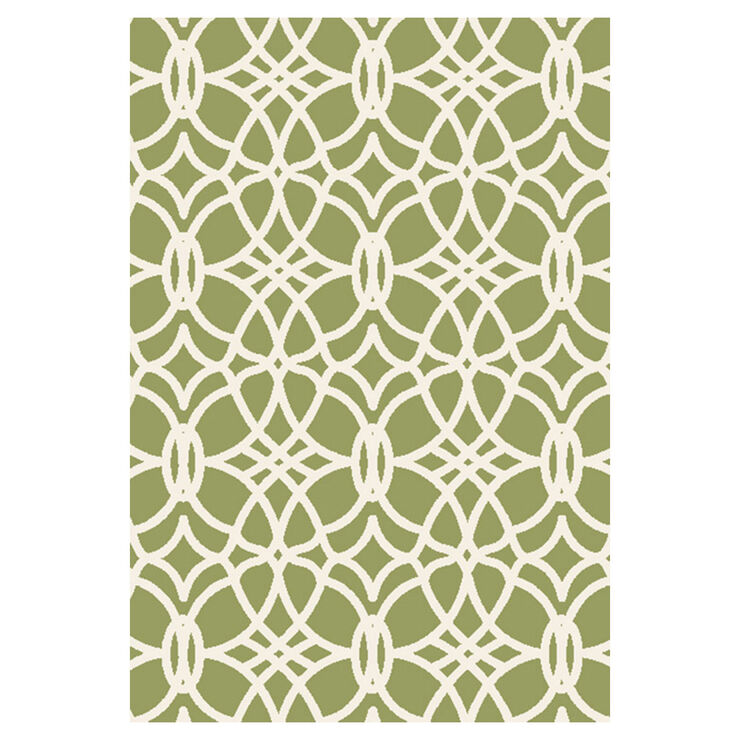 Green and Ivory Othello Tributary Rug 8 X 10 ft