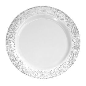 Picture of 7.5-in Misty White and Silver Side Plates - set of 10