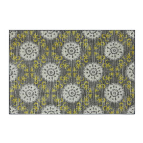 Picture of Grey and Green Medallion April Rug- 30x46 in.