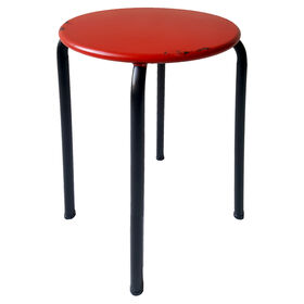 Picture of Distressed Red Metal Stool- 13 in.
