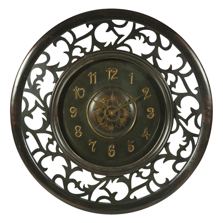 36-in Ornate Carved Wood Clock