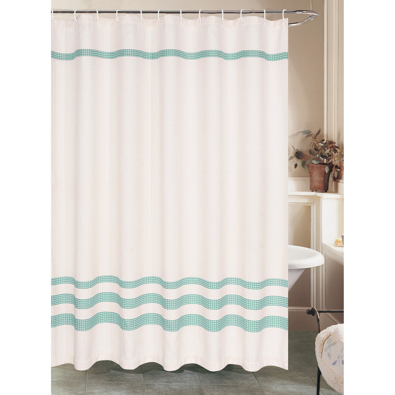white waffle shower curtain with green stripe polyester at home. Black Bedroom Furniture Sets. Home Design Ideas