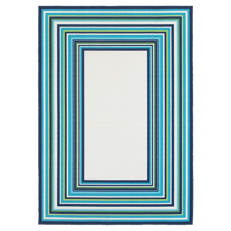 E142 Blue and Green Border Rug- 5x7 ft.