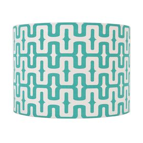 Picture of Teal and White Geo Pattern Drum Lamp Shade 14x10x10-in