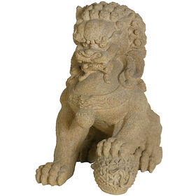 Picture of 19-in. Resin Lion with Ball Statue