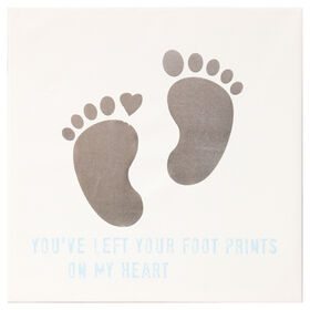 Picture of Gold Foiled Foot Prints with Blue Text Accent Art- 16x16 in.