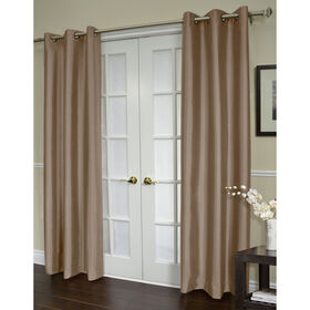 Picture of Shantung Grommet Curtain Panel- Cappuccino 96-in