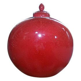 Picture of Red Round Ceramic Vase- 11 x 12-in