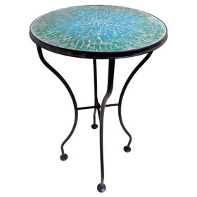 Picture of Green Mosaic Round Metal Table 25H