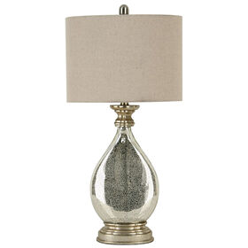 Picture of Silver Mercury Glass Round Table Lamp 21-in (shade sold separately)
