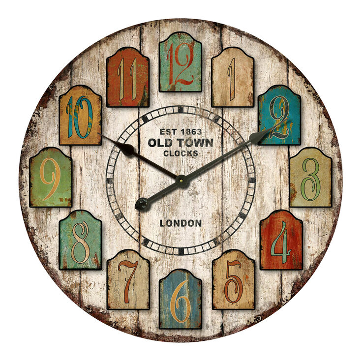30-in Distressed Tag Clock