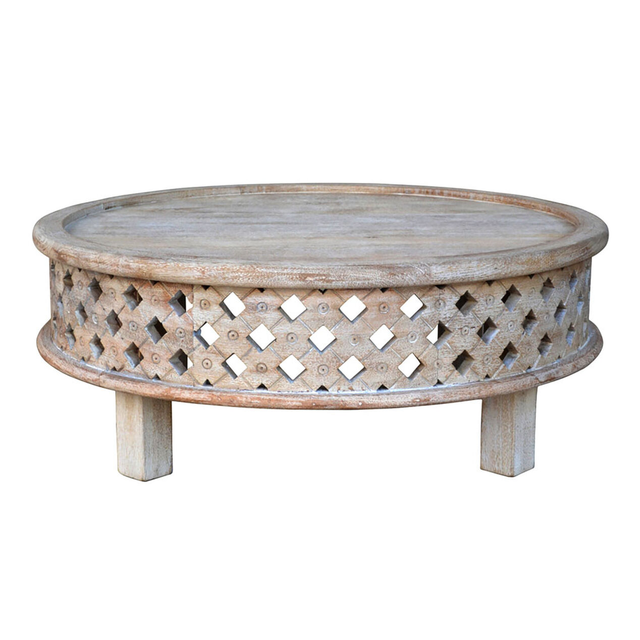 Mango wood coffee table with storage - Bargu Mango Wood Round Coffee Table