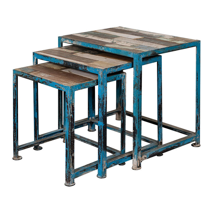 India Mango Square Nested Table - Blue, Small (Assorted Sizes Sold Separately)