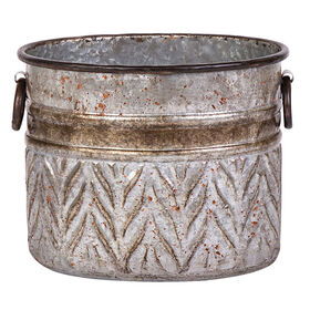 Picture of Metal Oval Galvanized Planter- 10-in