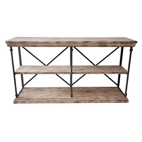 Picture of La Salle Metal and Wood 2-Shelf Console Table