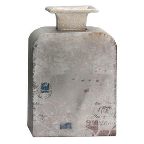 Picture of Silver Metal Vase with Postage Stamps, Small- 10-in