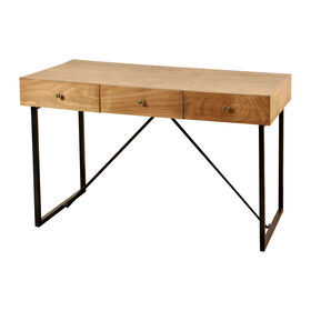 Picture of 3-Drawer Wood Desk with Metal Base 50X30