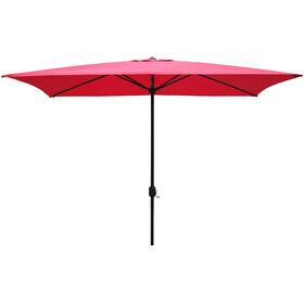 Picture of 10 x 6.5ft. Rectangular Crank Umbrella, Red