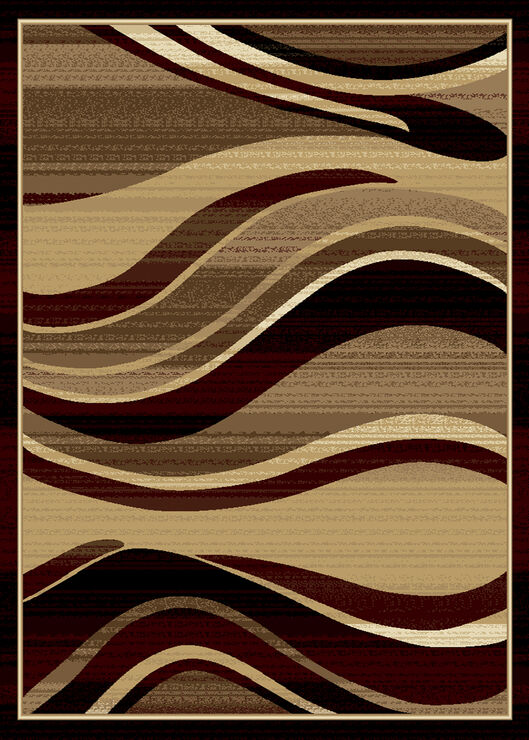 B135 Red Wavy Lines Rug- 5x7 ft - At Home