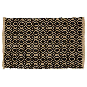 Picture of Black Jute and Rayon Geometric Accent Rug 20 X 34-in