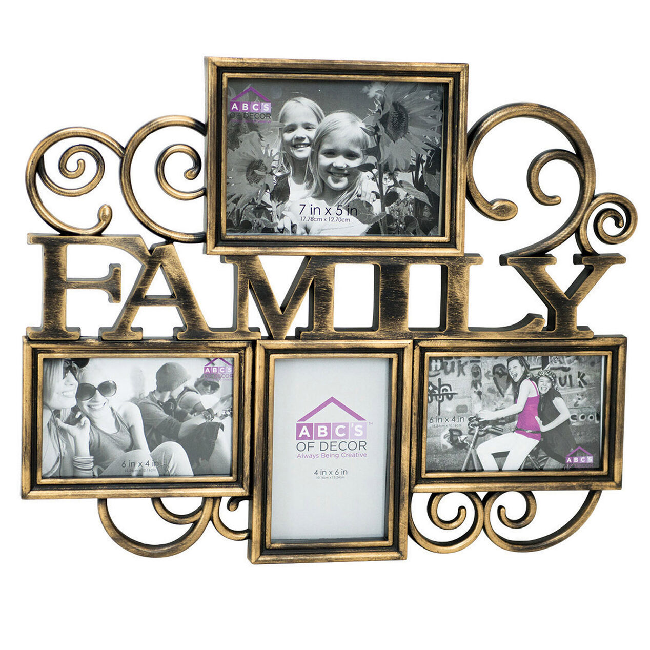 18 x 15 in black and gold family collage frame