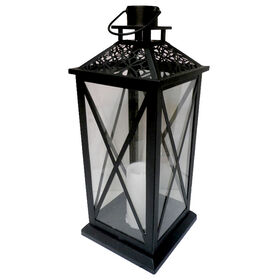 Picture of Metal Black Cutout Top Lantern- 20-in