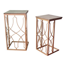 Picture of Square Gold End Table- 20-in