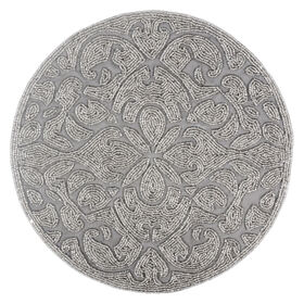 Picture of 14-in. Round Beaded Charger, Silver