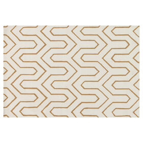 Picture of A296 Ivory and Gold Geometric Rug