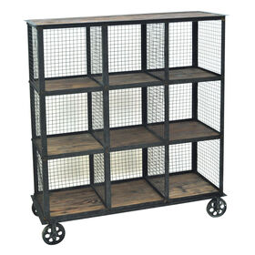 Picture of Industrial 4-Tier Bookshelf on Casters