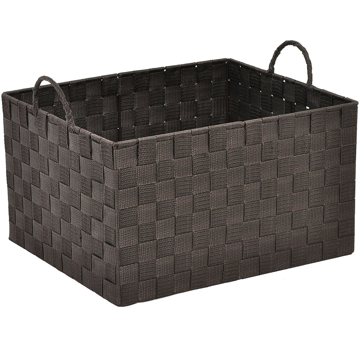 Closet storage bins and baskets - Large Nylon Basket Brown