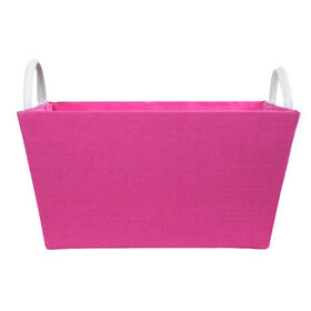 Picture of Pink Rectangle Fabric Basket with Leather Handles