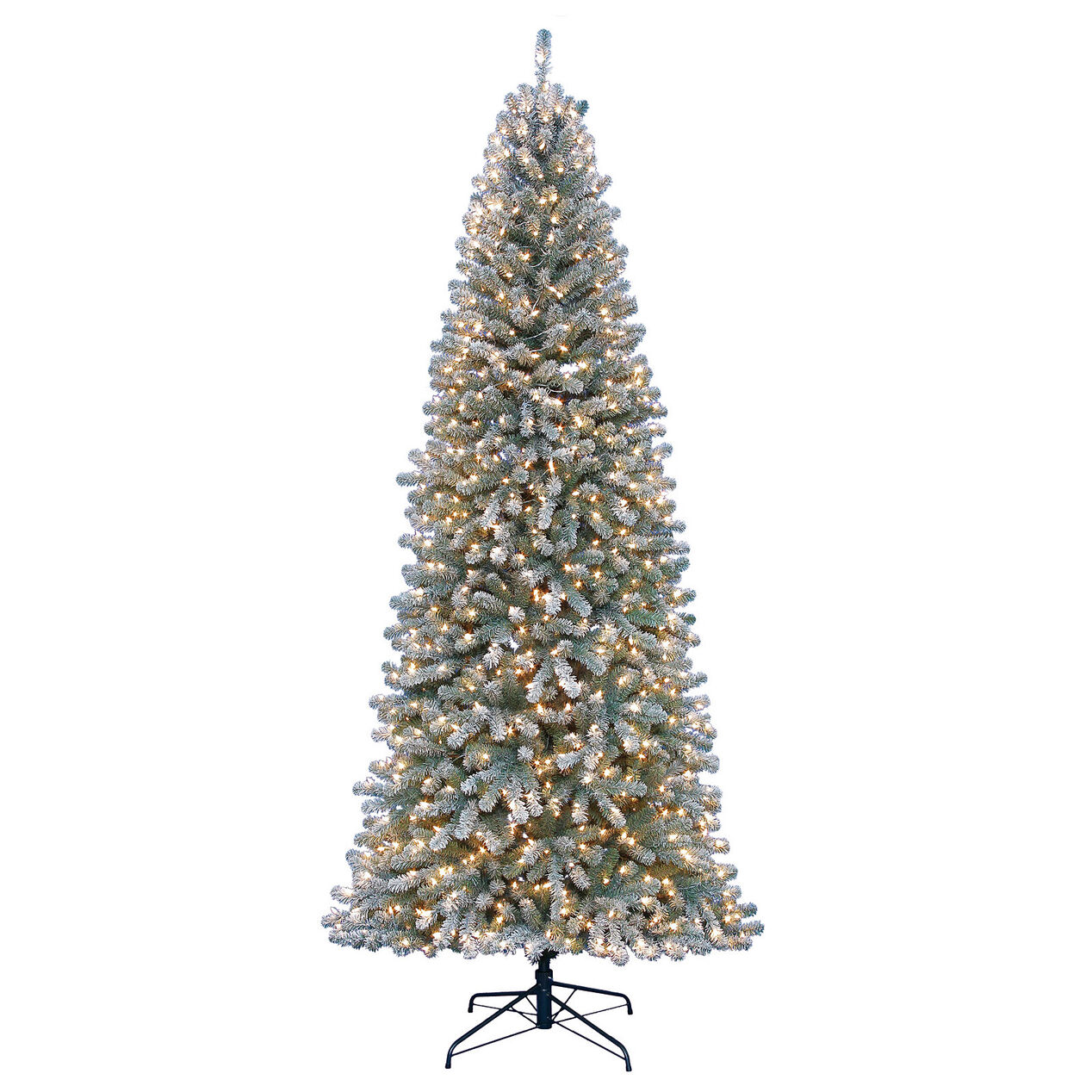 D28 9-ft Pre-Lit Richaven Flocked Pine Christmas Tree with 1000 ...