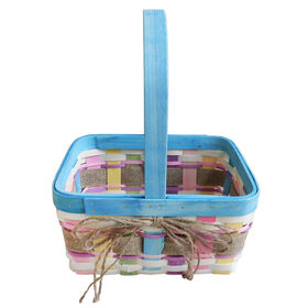 Picture of Medium Blue Wood Chip Basket with Burlap