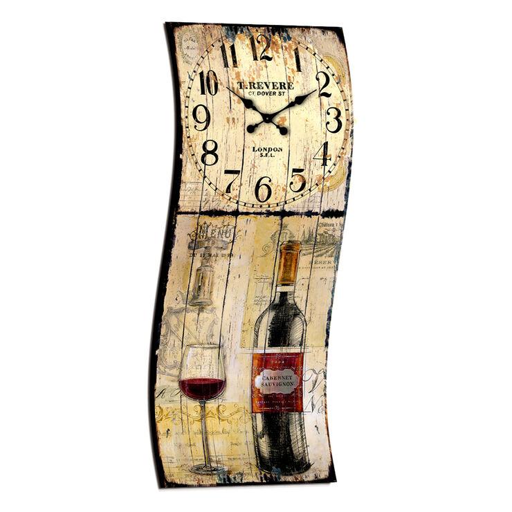 23 X 10-in Metal Wine Wall Clock