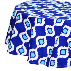 Picture of Navy White Geometric Print Table Cloth- 70in. Diameter