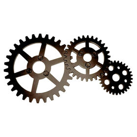 Picture of Bronze Industrial Gears Wall Decor- 10 x 20-in