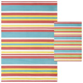 Picture of Multi Stripe Outdoor Woven Area Rug 5X7