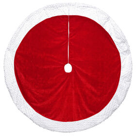 Picture of Red Velvet Tree Skirt with White Sequin Cuff