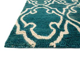 Picture of A130 Turquoise and Ivory Geo Rug