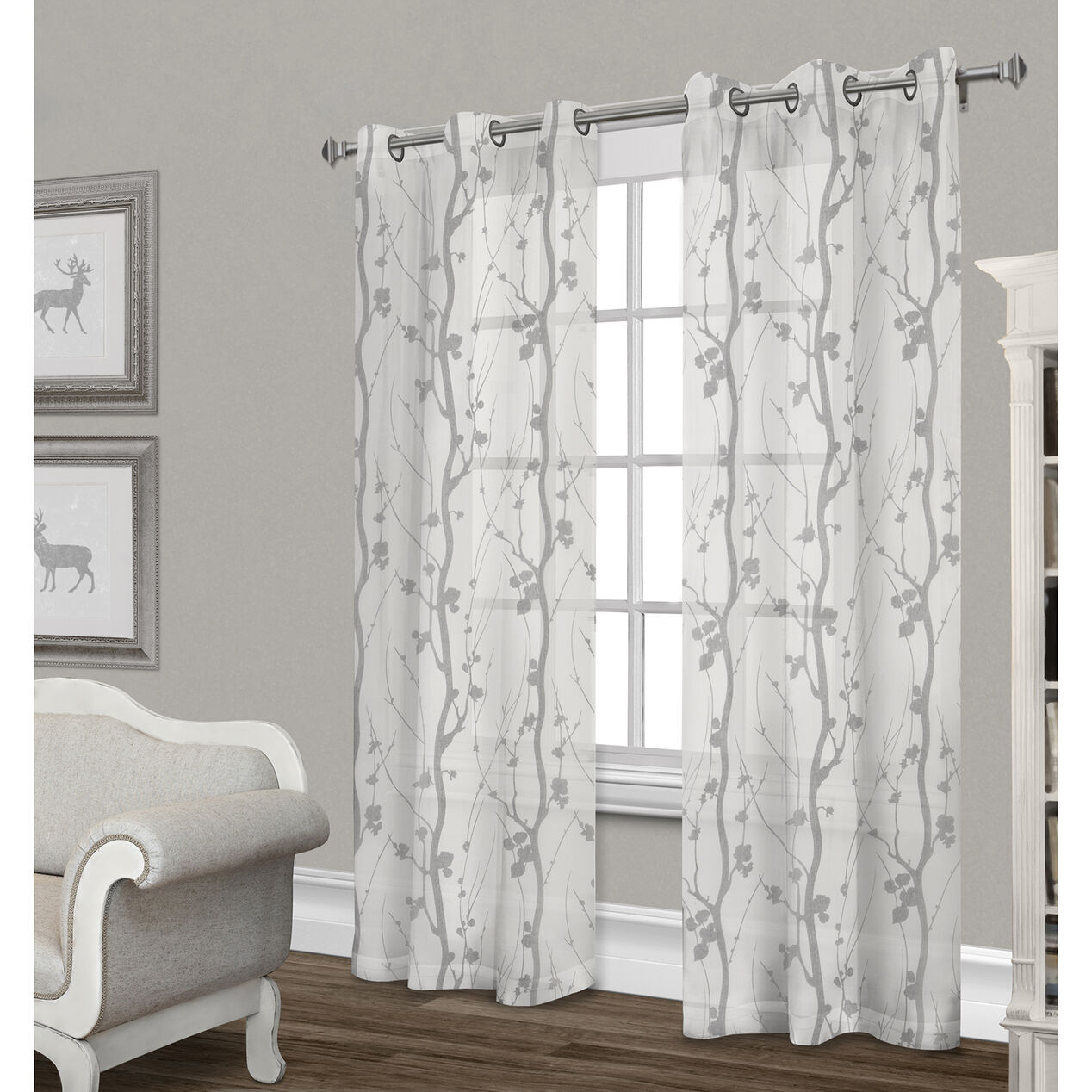 Corfu Sheer Curtain Panel Dove Gray 84 In At Home