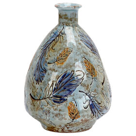 Picture of CER BLUE FEATHER VASE 10X8X8