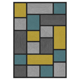 Picture of D266 Grey and Teal Blocks Rug