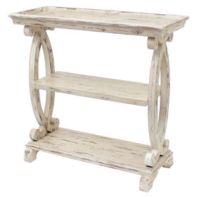 Picture of Newport Distressed White Console Table with 3 Shelves