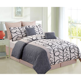 Picture of Black Taupe and White Feuille Comforter Set Queen- 8 Piece