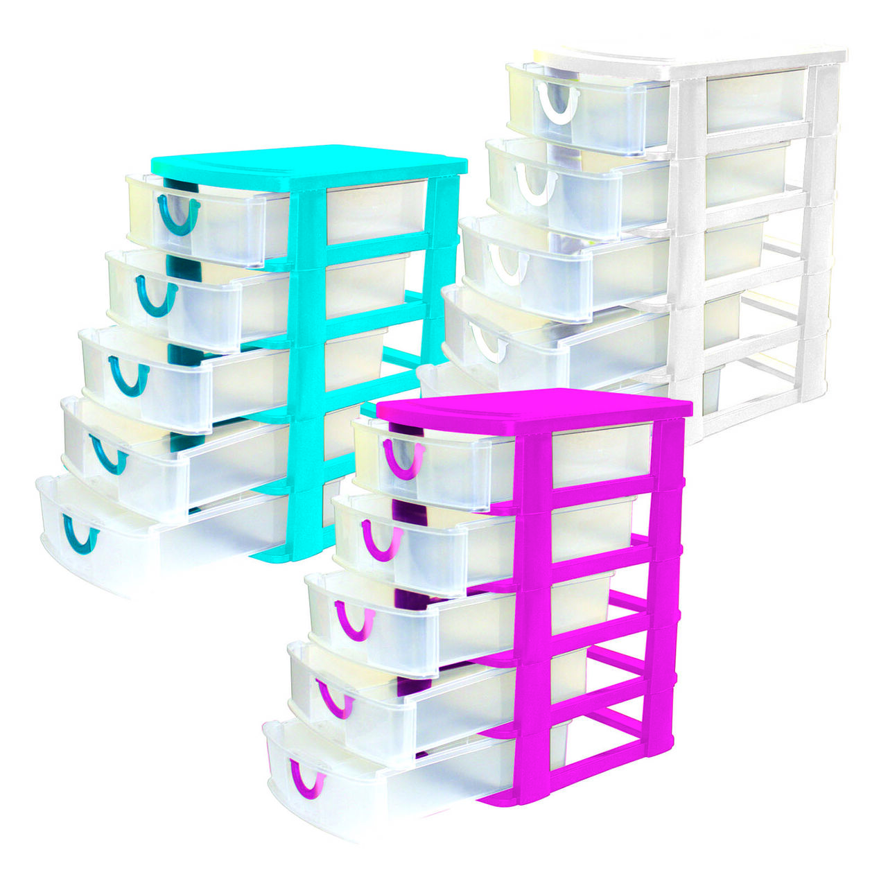 5 Drawer Mini Organizer Assorted Bright Colors Sold