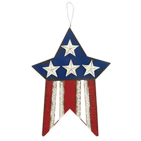 Metal Star with Flag Design - 18 in