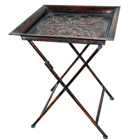 Picture of Folding Embossed Square Metal Table 20X26