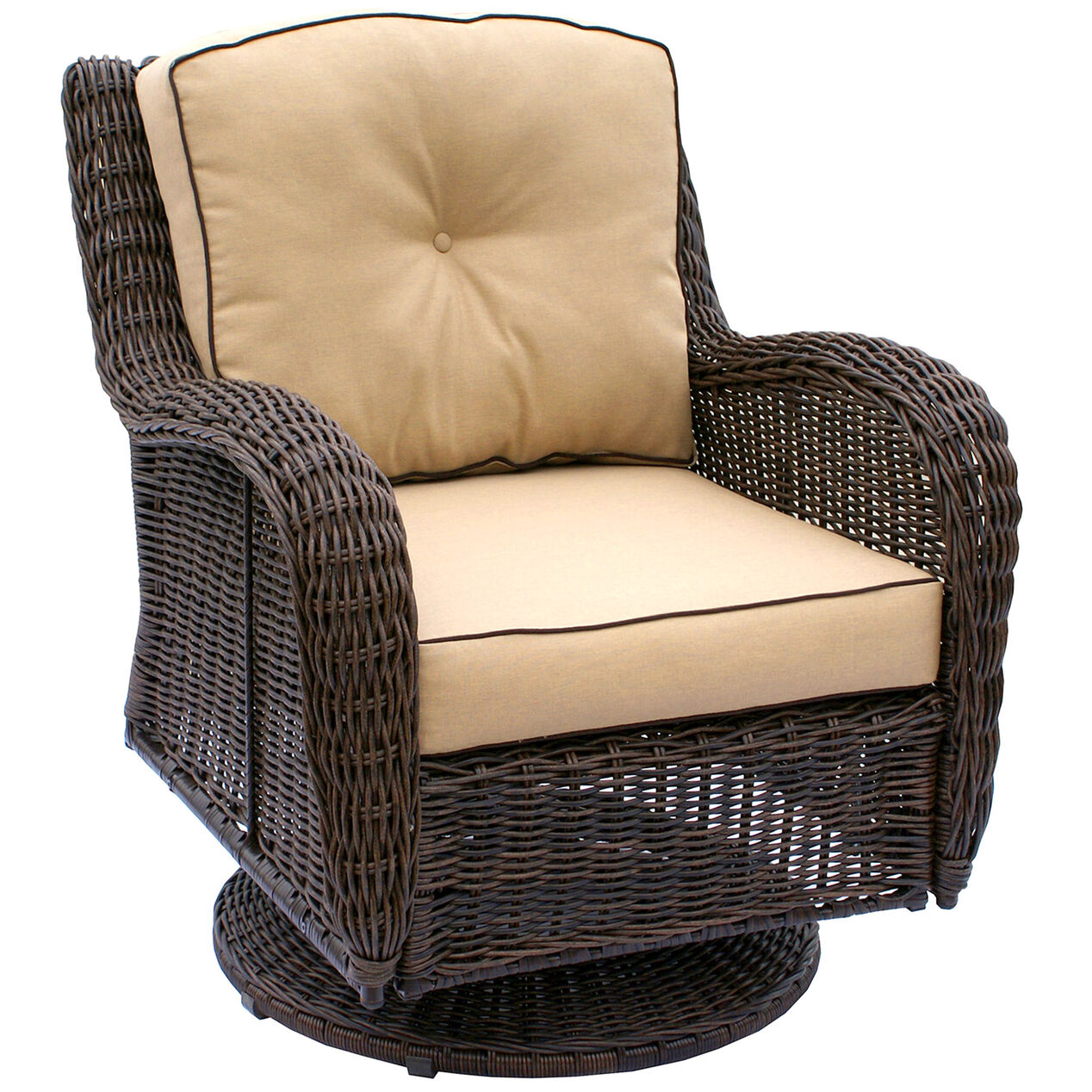 Brown Grand Isle Wicker Swivel Chair At Home
